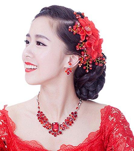 Freedi Womens Flower Hair Clip Beach Party Wedding Event Girls Corsage Brooch Hairpins Decor (Plumeria Hair Comb)