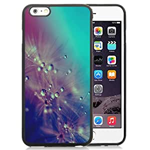 Fashion Custom Designed Cover Case For iPhone 6 Plus 5.5 Inch Phone Case With Dandelion Water Drops Closeup_Black Phone Case