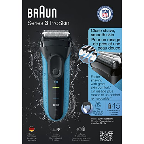 Braun Electric Shaver, Series 3 ProSkin 3010s Men's Electric Razor / Electric Foil Shaver, Rechargeable, Wet & Dry, Blue