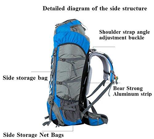 70L de gran capacidad de bolsa de viaje de la moda hombres y mujeres Mochila doble mochila del hombro a prueba de agua , gold Orange