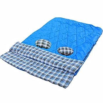 zhudj engrosamiento franela saco de dormir, doble bolsa de dormir al aire libre par,