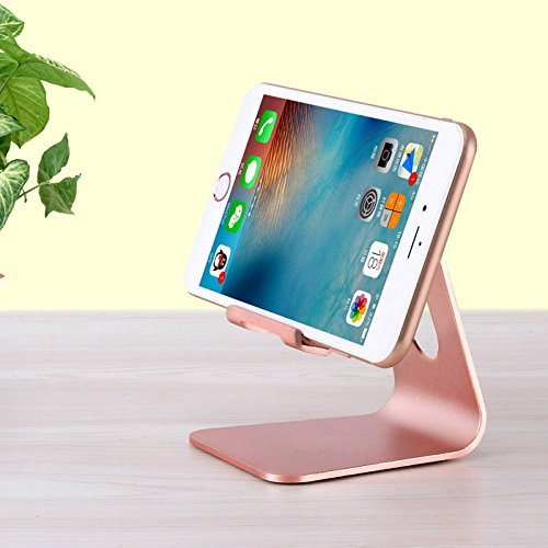 Adjustable Cell Phone Stand Sturdy Aluminum Mobile Stand for iPhones, iPad and Most Android Smartphones/Tablets | Anti Slip and Anti Scratch Rubberized Foot and Nest (Pink) by Mobile Mate (Image #1)