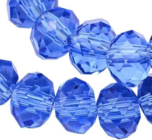 20Checa Cristal Perlas de Cristal Perlas 8mm x 6mm Azul Sapphire facettiert Rondell Cristal Facetado perlas fuego pulido Perla fädeln para DIY Joyas Fabricación X201