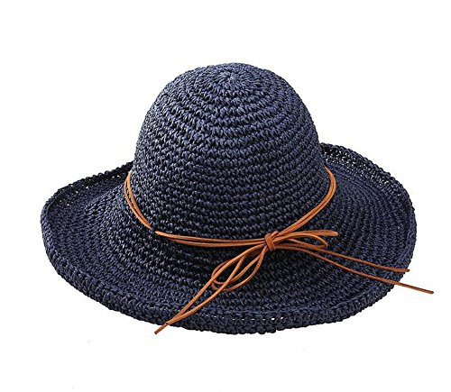 Glamorstar Women's Summer Beach Cap Foldable Braid Sun Straw Hats Navy