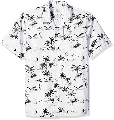 28 Palms Men's Standard-Fit 100% Cotton Tropical Hawaiian Shirt, White/Black Scenic, Medium