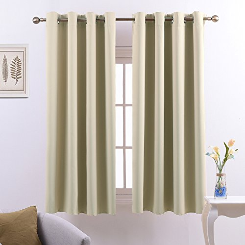 Nicetown Triple Weave Microfiber Home Thermal Insulated Ring Top Blackout Curtains / Drapes for Bedroom(Set of 2,52 x 63 Inch,Beige)