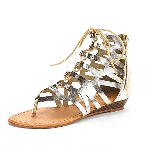 DREAM PAIRS Women's TAJ Gold Pu Ankle Strap