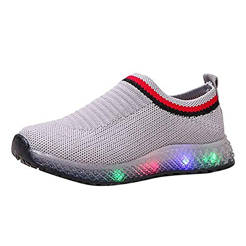 Kids LED Light Up Shoes Baby Boys Girls Soft Knit Slip-on Running Flashing Sneakers Lightweight Barefoot Sock Shoes ()