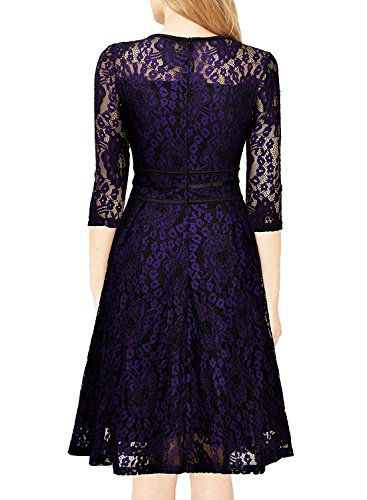 MRstriver Women's Vintage Floral Lace 2/3 Sleeve Cocktail Evening Party Dress Black and PurpleMedium