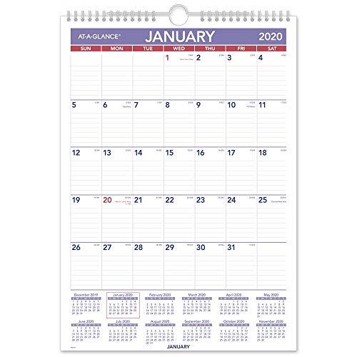 "AT-A-GLANCE 2020 Monthly Wall Calendar, 12"" x 17"", Medium, Wirebound (PM228)"