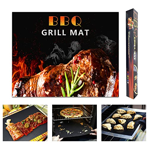 Yu luo Grill Mats 100% Non-Stick BBQ Mat for Grilling, Grill Mat for Outdoor Cooking Reusable and Easy to Clean for Gas, Charcoal, Electric BBQ Grill 15.7x13, Set of 5 Pieces (Black)