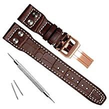 22mm Genuine Leather Gold Buckle Watch Strap Band fit for IWC Pilot's Watchs Brown
