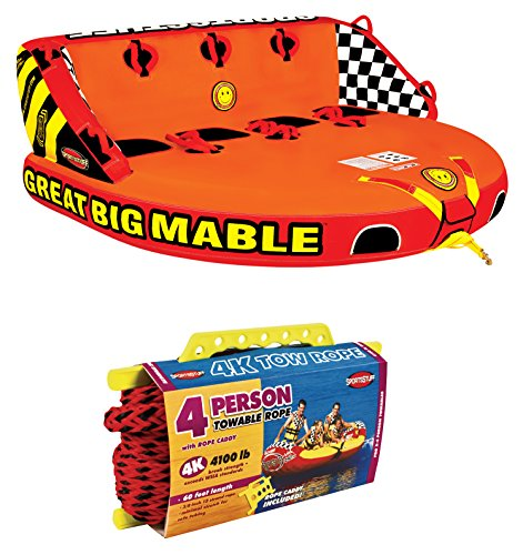 SPORTSSTUFF 53-2218 Great Big Mable 4-Rider Inflatable Towable Tube w/ Tow Rope ()