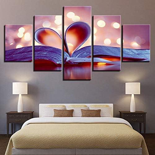 キャンバスウォールアートブックページポスター愛ハート風景画像家の装飾のリビングルーム-5ピース/セットフレームなし