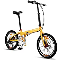AOHMG Bicicleta Plegable Ciudad Adulto Bici Plegable, 7- velocidades Peso Ligero Marco Reforzado,Yellow_20in