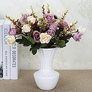 Lopkey Artificial Flower Rose Bouquet Fake Plastic Fabric Silk for Home Decor Wedding Table Decor 101