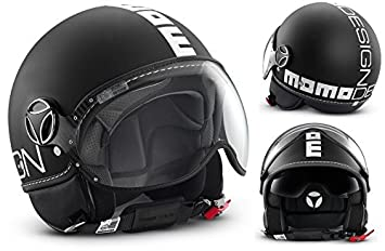 Momo Design Fighter - Casco, doble visera, color negro opaco y blanco, talla