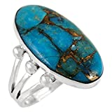 Turquoise Ring Sterling Silver 925 & Genuine Copper-Infused Matrix Turquoise (10)