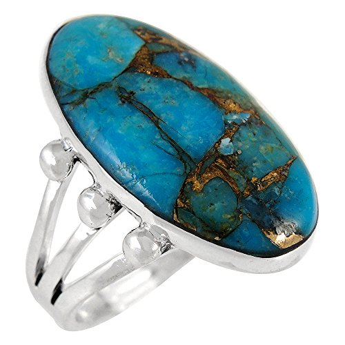Turquoise Ring Sterling Silver 925 & Genuine Copper-Infused Matrix Turquoise (10) by Turquoise Network (Image #1)