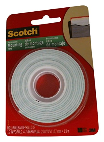 3M 110 3M Scotch 110  Indoor Mounting Tape  1 2 Inch X 75 Inches  White  1 Roll  110