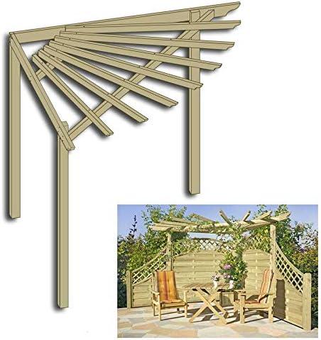 Pérgola en esquina Gartenpirat®, 240 x 240 x 220 cm, de madera, para terraza o jardín: Amazon.es: Jardín