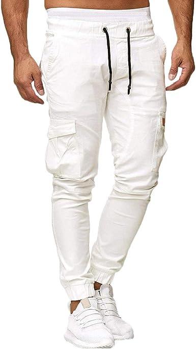 MXJEEIO💖Hombres Pantalones Color sólido de chándal Pantalones ...