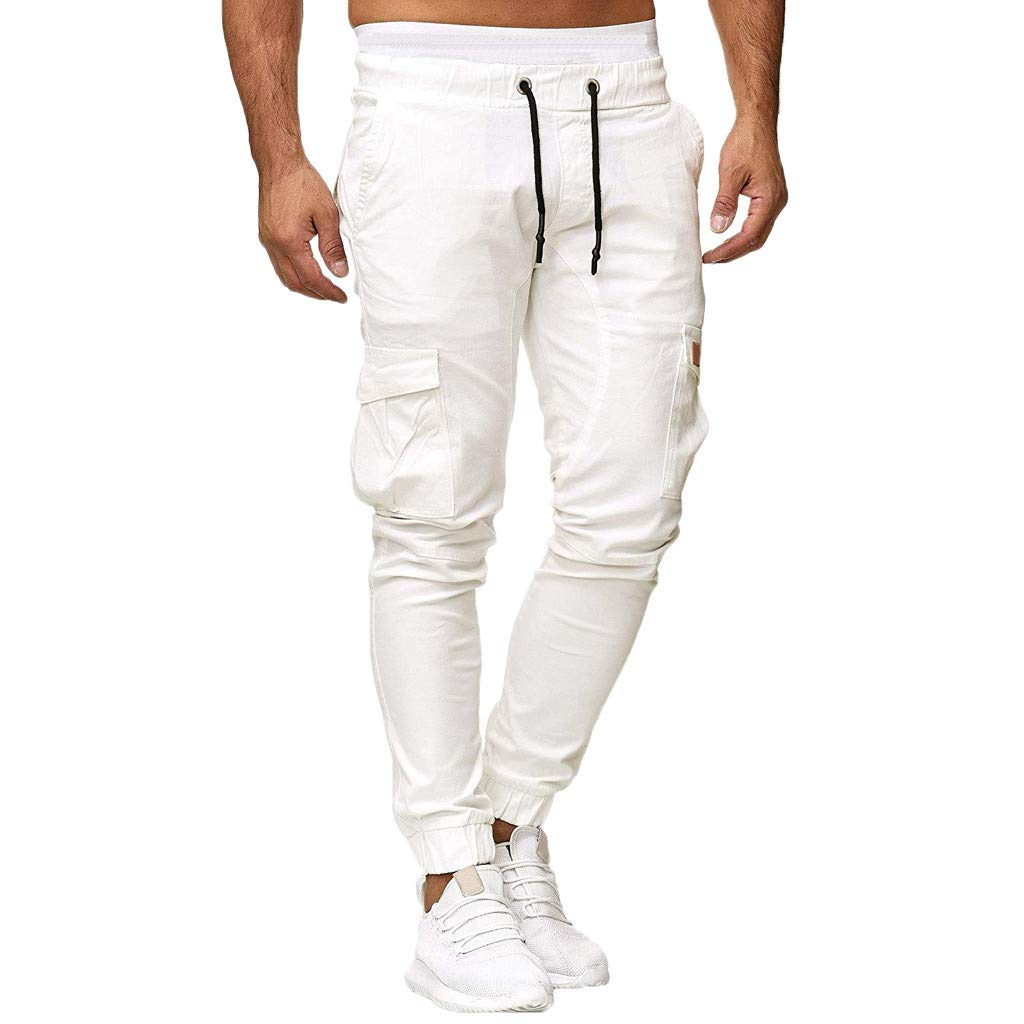 Nadition Man Cargo Pant ❣ Men Casual Sweatpants Drawstring Elastic Joggings Solid Mutil-Pockets Sport Trousers