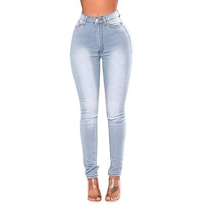 ADELINA Mujeres Denim Pantalones Vaqueros De Cintura Alta Pantalones Ropa De Estiramiento Flacos Estiramiento De Botones Frente Pantalones Vaqueros Pantalones Casuales (Color : Blau, Size : 2XL): Ropa y accesorios