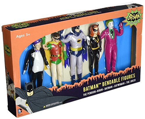 Super Hero Set Batman Classic Bendable Boxed Hero Series Action Figures Toys, 5 Pack