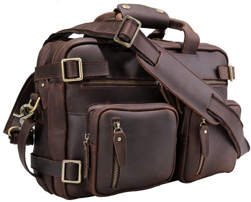 Iswee Men Messenger Bag Leather Convertible Backpack Vintage laptop briefcase Handbag by Iswee