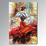 Seekland Art Hand painted Lady Dancing with Red Dress Large Abstract Canvas Wall Art Impression Oil Painting Modern Contemporary Artwork Fine Pictures Unframed (3648 inch, EFH-B101105)