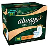 Always Ultra Thin Overnight Pads with Wings (76 ct.) (pack of 6)