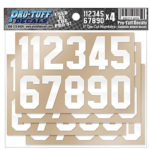 Helmet Number Decals (Football, Lacrosse, Hockey, Baseball, Softball) White Stickers (1 inch White Numbers)