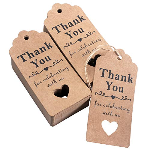 HAZOULEN Thank You Tags, 100 Pcs Kraft Paper Tags for Wedding Favors, Bridal Shower Party Gifts with Natural Jute Twine -