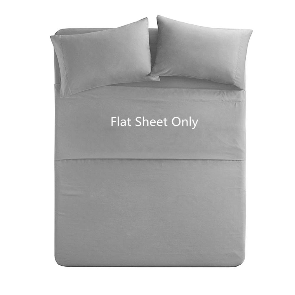 Queen Size Flat Sheet Single - 300 Thread Count 100% Egyptian Cotton Quality - Hotel Luxury Flat Sheet Sold Separately - Light Grey