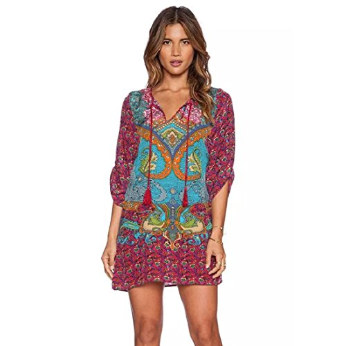 Orangesky Women Traditional African Print Dashiki Bodycon Short Sleeve Dress (M, Red2)