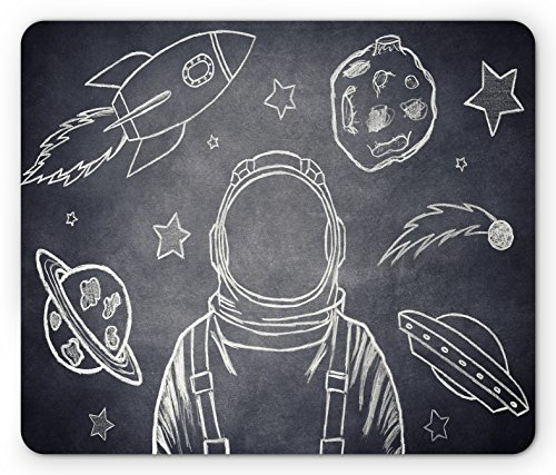 Modern Mouse Pad by Lunarable, Space Backdrop with Planets and Sketchy Astronaut Figure Asteroid Galaxy Image, Standard Size Rectangle Non-Slip Rubber Mousepad, Cadet Blue White (White Cadet Cadet Drop)