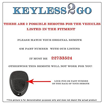 Keyless2Go New Replacement Keyless Entry Remote Start Car Key Fob for 22733524 KOBGT04A Malibu Cobalt G5 G6 Grand Prix Lacrosse Allure: Automotive