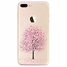 "Clear iPhone 7 Plus Case, iPhone 7 Plus Cover, CrazyLemon Ultra Slim Soft TPU Silicone Gel Colorful Pattern Peach Blossom Printed Flexible Back Protective Case for iPhone 5.5"" 7 Plus, Flower 07"