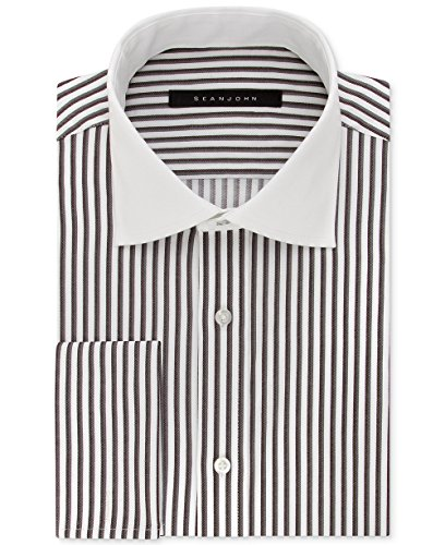 Sean John Tailored Dress Shirt (Sean John Men's Fitted Tailored-Cut Brown Stripe Dress Shirt (Dark Earth, 18.5 34-35))