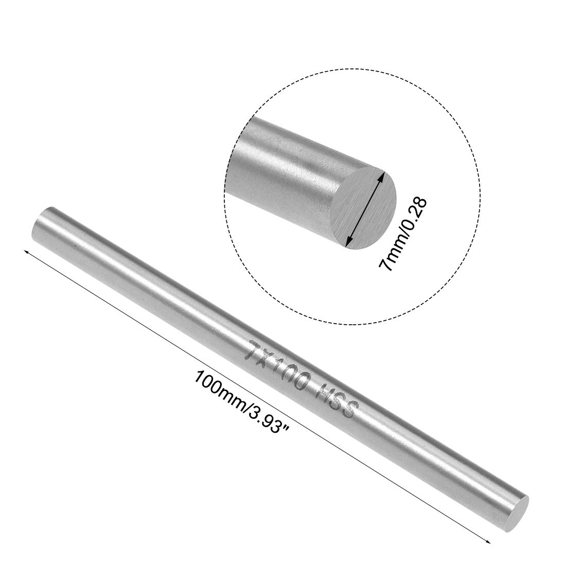 uxcell HSS Lathe Round Rod Solid Shaft Bar 7mm Dia 100mm Length 2Pcs
