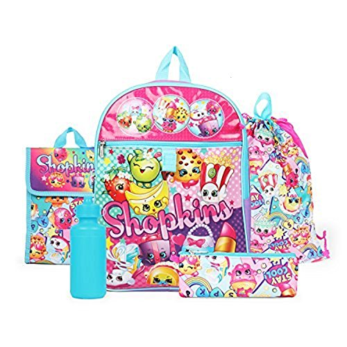 Shopkins Rainbow Backpack Back to School 5 Piece Essentials -