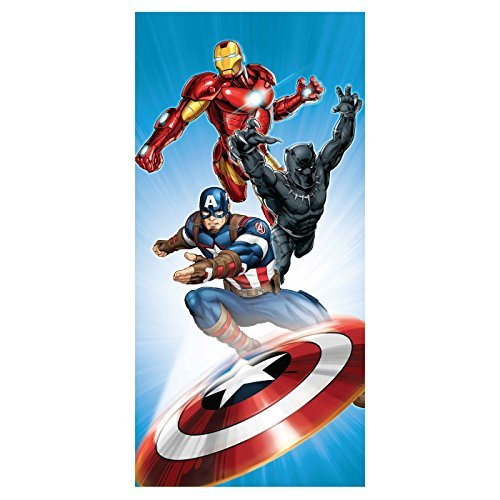 Marvel Avengers Movie Icons Black Panther, Ironman, & Captain America Beach Towel