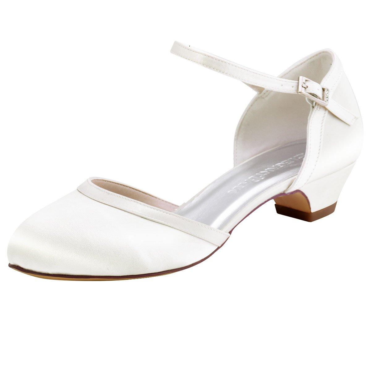 Elegante Park HC1621 ronda hebilla de tacón alto bombea los zapatos de danza de satén zapatos de boda Mujeres 38 EU|Marfil