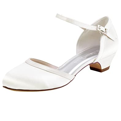 ElegantPark HC1621 Women Comfort Chunky Heel Closed Toe Ankle Strap Satin Bridal  Wedding Shoes Ivory US cce660d6e4a6