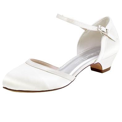 1b516ca90cbc0 ElegantPark HC1621 Women Comfort Chunky Heel Closed Toe Ankle Strap Satin  Bridal Wedding Shoes Ivory US