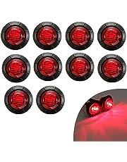 KYYET 10 Pcs 3/4 Inch Mount Red LED Rear Side Marker Indicator Lights for Trucks, Traile ,Cab Marker, RV Marker,Marine Led Utility Strip Light for Boats ,Taillight Brake Stop Lamp12V