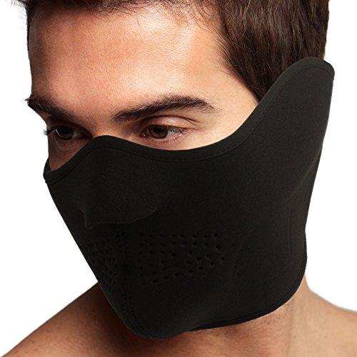 Men's Thermal Neoprene Fleece Warm Breathable Half Face Mask Ski Snowboard Black