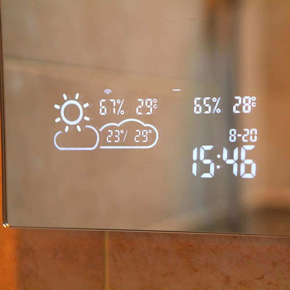 YII Espejo De Baño Inteligente, Wi-Fi Montado En La Pared Espejo De Baño Baño Aseo Luz Antiniebla Espejo con Pantalla Táctil Bluetooth HD Pantalla del Clima ...
