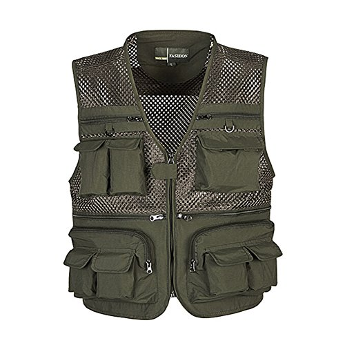 Ziker Men's Mesh Breathable Openwork Camouflage Journalist Photographer Fishing Vest Waistcoat Jacket Coat (Army_Green, Medium)